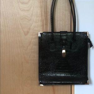 VINTAGE - black croc embossed leather handbag